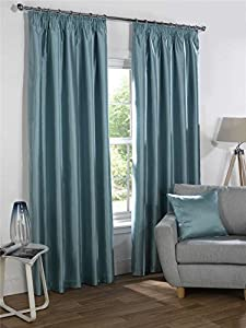 "Duck Egg Blue Faux Silk 46x54"" 117x137cm Blackout Lined Pencil Pleat Curtains by Curtains"