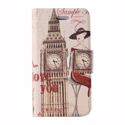 Meaci Apple Iphone 5&5S Folio Case Fashion Pattern With Kickstand Credit Card Holder Id Holder Pu Leather Material Cover Magnetic Buckle (Ix)