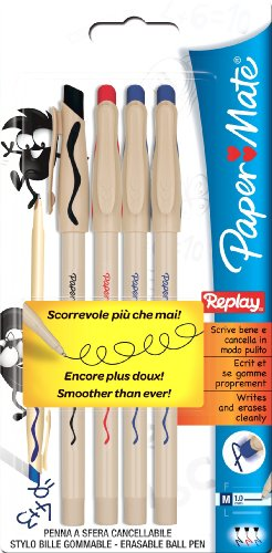 paper-mate-s0190775-penna-a-sfera-cancellabile-replay-punta-media-blister-da-4-pezzi-2-nere-1-blu-1-