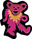 Pink Bear with Yellow Necklace - Embroidered Iron On or Sew On Patch