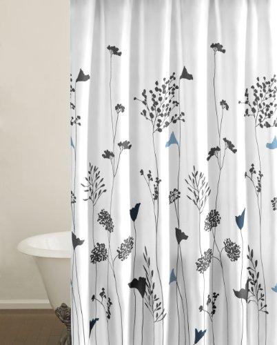 Perry Ellis Asian Lily White Shower Curtain 100 Percent Cotton SALE Best D
