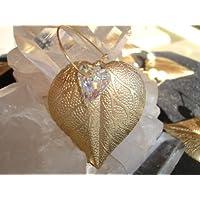 Metal Leaf with 12mm Swarovski Rainbow Heart Crystal Ornament