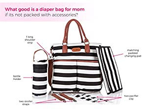 Stylish Baby Diaper Bag - Cotton Messenger Organizer Tote - Change Pad - Kidnid from Kidnid