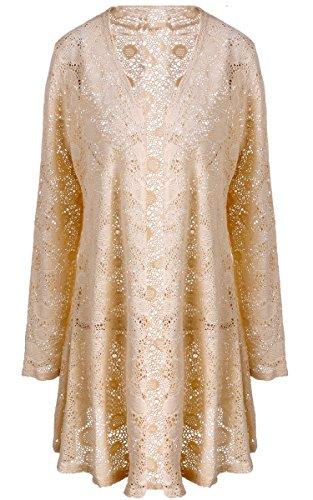 Meaneor Women's Sheer Sexy Tassel Chiffon Loose Boho Sleeve Cardigan Kimono Blouse Coat Beige XL