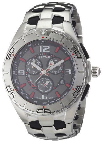Sector 340 Series Men's Watch Chronograph with Dark Grey Dial and Stainless Steel Black IP Bracelet - R3273934015