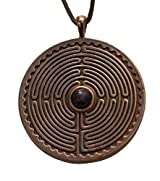 Labyrinth Peace Bronze Pendant Necklace with 6mm Dinosaur Bone Gemstone on Adjustable Natural Fiber Cord