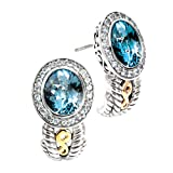 14K Yellow Gold and Sterling Silver Blue and White Topaz Earrings