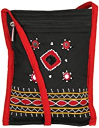 Womens Cottage Handmade Black Cotton Small Patch Work Side Purse For Womens/Girls
