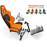 Openwheeler Racing Wheel Stand Cockpit Orange/Black | For Logitech G29 | G920 and Logitech G27 | G25 | Thrustmaster Wheels | Racing wheel & controllers NOT included