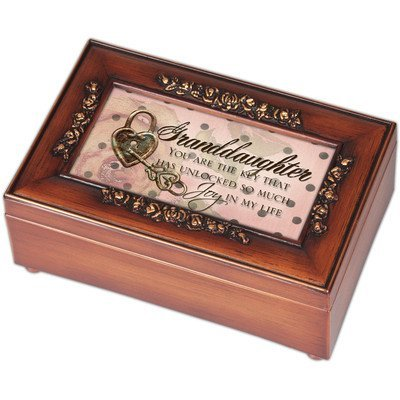 Woodgrain Petite Rose Granddaughter Music Box - Perfect Daughter Gift