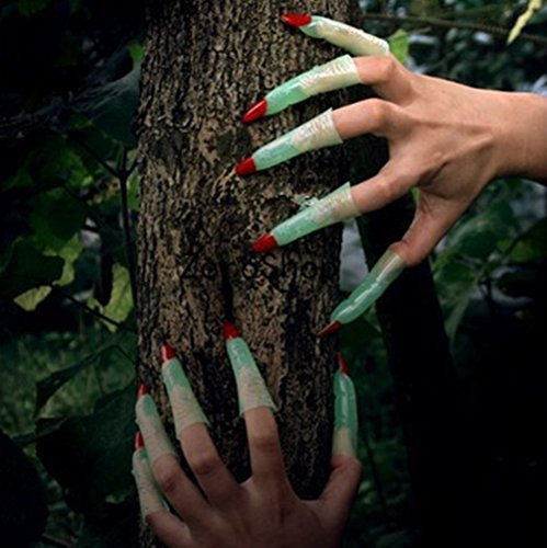 ZeroShop(TM) 20Pcs Glow In The Dark Witch Ghost Fingers Red Nails Halloween Party Favors