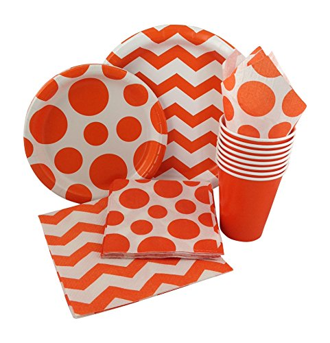 Orange & White Chevron Dot Party Supply Pack! Bundle Includes Paper Plates, Napkins, Cups for 8 Guests