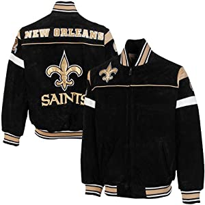 New Orleans Saints Knockout Full Zip Suede Jacket by Football Fanatics