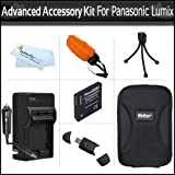 Advanced Accessory Bundle Kit For Panasonic Lumix DMC-TS4, DMC-TS3, DMC-TS2 Waterproof Digital Camera Includes Panasonic DMW-BCF10 Replacement Extended (1200 Mah) Battery + Rapid Charger + USB Card Reader + Hard Case + Floating Strap + More