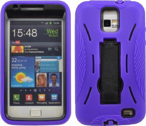 Shock Proof Armor Defender Case Fr Samsung Galaxy S Ii Skyrocket I727 Att Purple