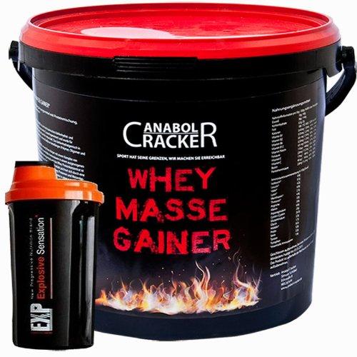Whey Masse Gainer, Eiweisspulver, 3000g Eimer, Erdbeere, Toffi oder Vanille, + Proteinshaker, Sonderangebot Anabol Cracker
