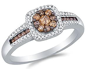 Size 6.5 - 10K White Gold Chocolate Brown & White Round Diamond Halo Circle Engagement Ring - Invisible & Channel Set Flower Center Setting Shape with Channel Set Side Stones (1/2 cttw.)