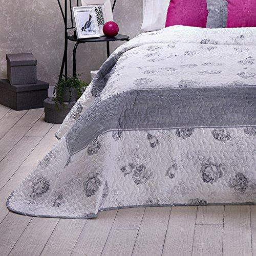 Sancarlos - Colcha bouti floral edith gris - relleno ligero - esquinas redondeadas - varias medidas disponibles