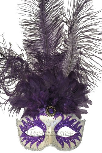 Pure Seasons Colombina Swan Princess Feather Mask (Purple)-Standard (Carnavale Costumes)