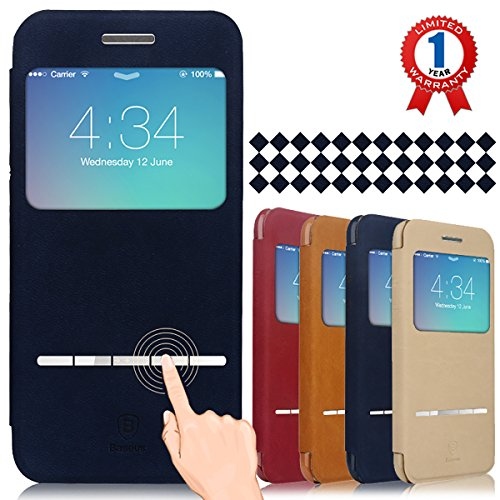 """Baseus iPhone 6 Case, Aerb Classic Series Smart Window View Touch Metal Front Flip Cover W Open Logo Back Folio Case for iPhone 6 4.7"""" (i6 B-Blue Case)"""