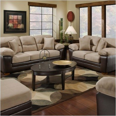 Picture of American Furniture Queen Sleeper Sofa and Loveseat Set in Mocha (G4204-6323) (Sofas & Loveseats)