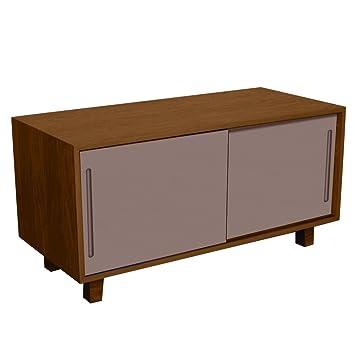 Fusion Living Table TV noyer rétro moderne et gris