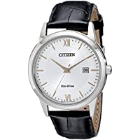 Citizen Eco-Drive Silver Dial Black Leather Mens Watch