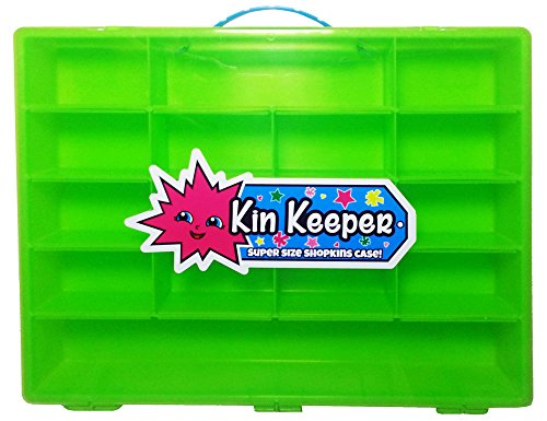 Large Green Shopkins Style Carrying Case and Storage Organizer - Limited Edition Display Box with Blue Handle - By Kin Keeper - Case Only