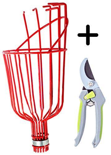 Fruit Picker Harvest Tool Kit: Basket Head & Garden Bypass Pruning Shears (Grape Fruit Picker compare prices)