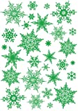 Easy Instant Decoration Wall Sticker Decal - Ornate Glittery Green Snowflakes