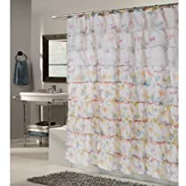 Carmen Crushed Voile Ruffled Tier Fabric Shower Curtain Butterfly 70 x 72 inch