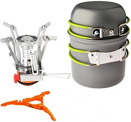 Camping Stoves+Potpan+Floding Gas Tank Bracket Bottle , SamYoung Portable Outdoor Backpacking Cookware Set (Can Propane compare prices)