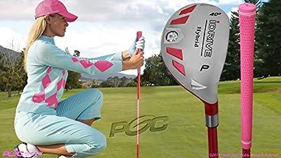 "Women's iDrive Golf Club All Ladies Pink Hybrid Pitching Wedge (PW) Lady Flex Right Handed New Rescue Utility ""L"" Flex Club"