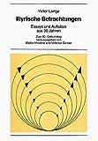 Illyrische Betrachtungen. Essays und Aufsatze aus 30 Jahren (New York University Ottendorfer series) (German Edition) (3261039663) by Victor Lange