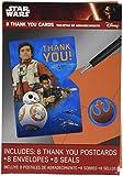 Amscan 8 CountStar Wars Episode Vll Postcard Thank You Cards, Multicolor
