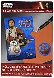Amscan 8 CountStar Wars Episode Vll Postcard Thank You Cards, Multicolor