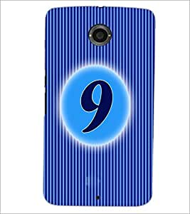 PrintDhaba Numerology Number 9 D-2565 Back Case Cover for MOTOROLA GOOGLE NEXUS 6 (Multi-Coloured)