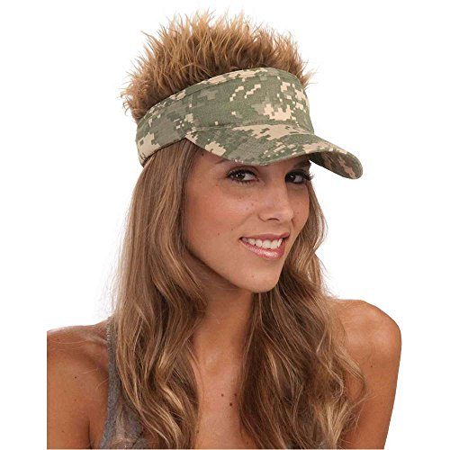 Camo Visor with Spiked Hair - One Size