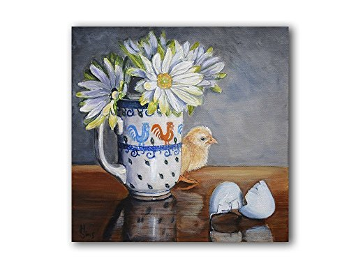 Polish Pottery Mug Still Life Wall Art Print, Chicken Decor for Farmhouse Kitchen, size mat option (Chicken Wall Shelf compare prices)