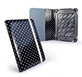 Slim Book-Style fabric case cover for Sony Reader PRS-T1 / PRS-T2 & Kobo Touch e-readers - Black Polka-Hot