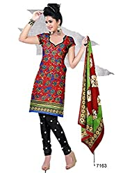 Riddhi Dresses Women's Cotton Unstitched Dress Material (Riddhi Dresses 107_Multi Coloured_Free Size)