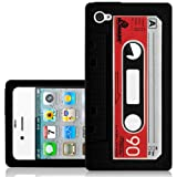 CNL BLACK CASSETTE TAPE SILICONE SKIN COVER CASE FOR APPLE IPHONE 4 / 4S MOBILE PHONE
