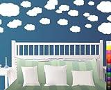 StikEez White Large Multi Cloud Decal Kit 26-Pack Various Fun Sizes