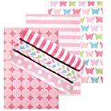Luvable Friends 6 Count Flannel Receiving Blankets, Pink Butterfly