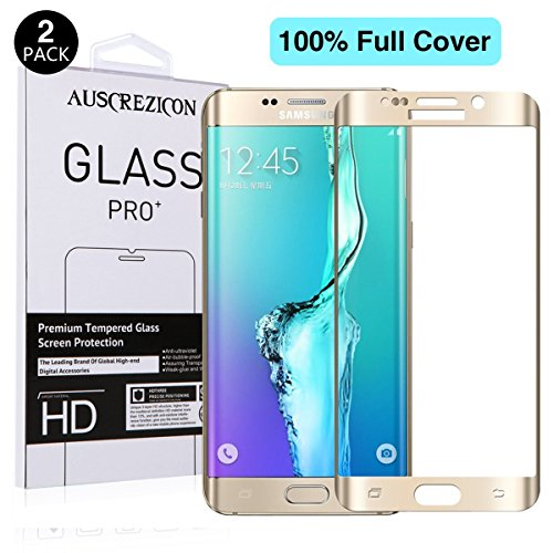 [Full Cover] Samsung Galaxy S6 edge screen protector , AUSCREZICON (2-PACK) 0.26mm 9H Tempered Glass ,High Definition 3D Curved, Full 100% Coverage for Samsung Galaxy S6 edge Gold