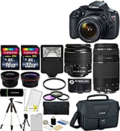 Canon EOS Rebel T5 18MP EF-S Digital SLR Camera USA warranty with canon EF-S 18-55mm f/3.5-5.6 IS II Zoom Lens & EF 75-300mm f/4-5.6 III Telephoto Zoom Lens + 58mm Telephoto Lens + 58mm Wide Angle Lens + Slave Flash + Spare Battery + UV Filter Kit with 48