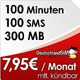 DeutschlandSIM SMART 100 [SIM und Micro-SIM] monatlich kündbar (300MB Daten-Flat, 100 Frei-Minuten, 100 Frei-SMS, 7,95 Euro/Monat, 15ct Folgeminutenpreis) Vodafone-Netz