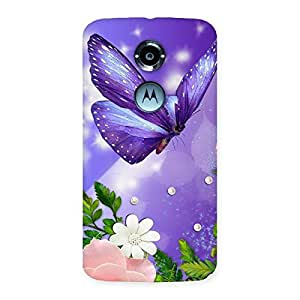 Cute Voilate Butterfly Back Case Cover for Moto X 2nd Gen