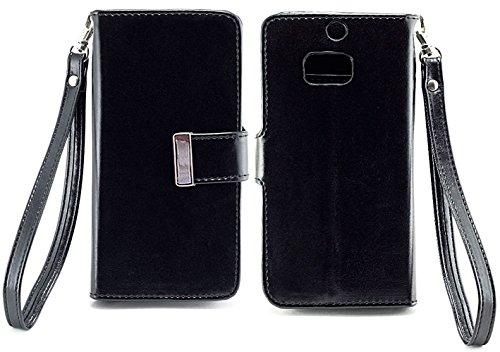 myLife Panther Black {Smooth Color Design} Faux Leather (Card, Cash and ID Holder + Magnetic Closing) Slim Wallet for the All-New HTC One M8 Android Smartphone...