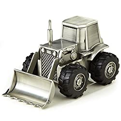 Pewter Finish Bulldozer Money Bank